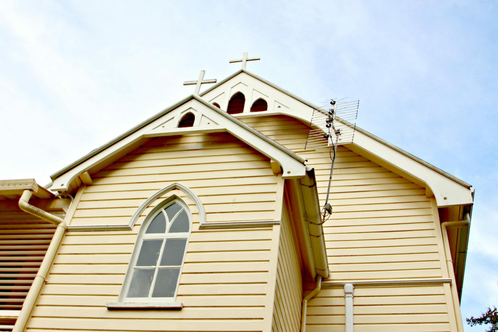 holier than though eumundi church cross